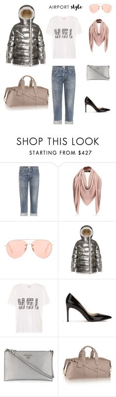 """""""Airport"""" by mariellam1 on Polyvore featuring moda, Citizens of Humanity, Linda Farrow, Moncler, Yves Saint Laurent, Prada e airportstyle"""