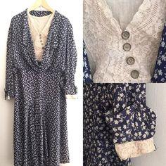 New Products  navy bluefloral vintage silk dress #fab.#vintage#vintagefashion #1920s#1930s#ヴィンテージ #ビンテージ #ヴィンテージファッション #ヴィンテージワンピース #古着