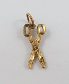 Pair of Scissors 10K Gold Vintage Charm For by SilverHillz on Etsy