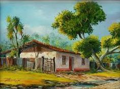 paisajes tipicos de costa rica - Buscar con Google Z Arts, House Landscape, Tropical Art, Mexican Art, Old Barns, Indian Paintings, Painting Lessons, House Painting, Home Art