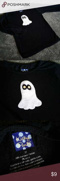 Kicky Pants long sleeve ghost Shirt 2T Both of my kids wore this, definitely an all time favorite.  Minor pilling, not very noticeable because it's black. Kickee Pants Shirts & Tops Tees - Long Sleeve