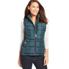 Charter Club Quilted Plaid Puffer Vest ($20) ❤ liked on Polyvore featuring outerwear, vests, deep black, puffy vests, charter club, puffer vest, quilted vest and quilted puffer vest
