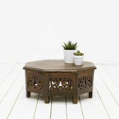 Bohemian Carved Wood Table l Moroccan Wood Table l Wood Plant Stand l Birch & Brass Vintage Rentals l Weddings and Corporate Events l Austin, TX