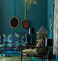turquoise and yellow bohemian living room