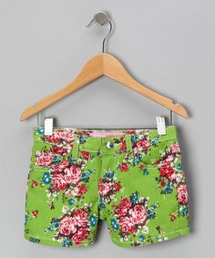 Take a look at this Green Floral Shorts by Cutie Patootie on #zulily today!