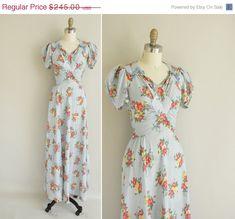 vintage 1930s dress / 30s floral cotton gown/ 1930s rare bias cut cotton dress