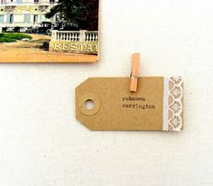 Escort cards rustic weddings lace place cards Kraft by SepiaSmiles