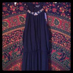 Navy blue maxi dress Never worn, navy blue, beaded, high neck. Lily Rose Dresses Maxi