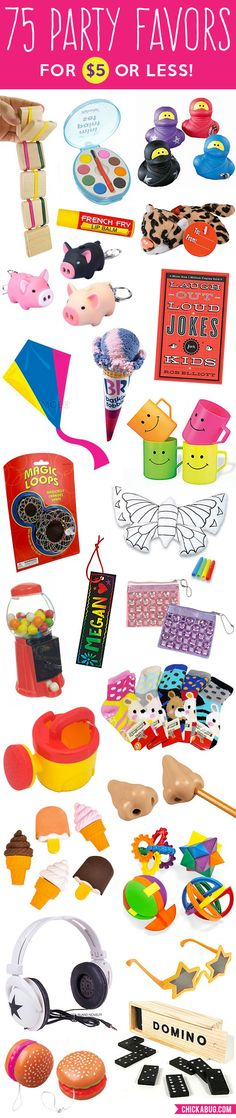 75 awesome party favors for $5 or less! Tons of unique ideas for kids' party favors!