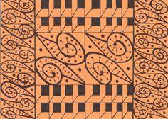 Czarny wzór na pomarańczowej kartce