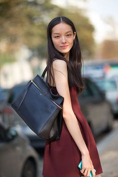 great bag Fei Fei. #offduty in Paris. #FeiFeiSun