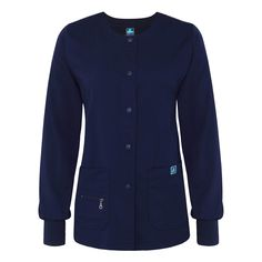 The classic warm-up jacket goes luxe. Traditional styling includes stitched banded crewneck, stitched placket with snap closures and soft, snug knit cuffs. Navy Blue Scrubs, Scrub Jackets, Princess Seam, Snug, Zipper, Shirt Dress, Sweaters, Mens Tops, Shirts