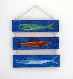 Fish Painting, Beach Decor, Coastal Art, Father's Day, Pallet Art, Wall Hanging, Gifts, Mahi Mahi, game fish