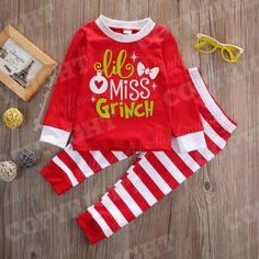 EXCLUSIVE    Girls Red and White Stripe Holiday GRINCH Christmas Pyjamas 70982b050