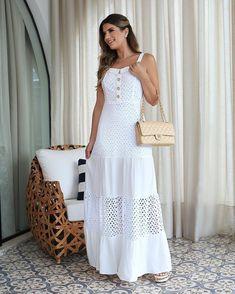 Long Dress - Beautiful Models to inspire you- Vestido Longo – Lindos Modelos para você se inspirar Everything ✔️ - White Fashion, Boho Fashion, Girl Fashion, Fashion Dresses, Dress Skirt, Lace Dress, Dress Up, White Dress, Casual Dresses