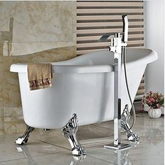 GOWE Polished Chrome Waterfall Spout Free Standing Bathtub Mixer Faucet Single Handle with Handshower Tub Filler
