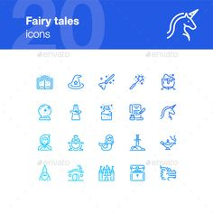 20 icons in outline style of Fairy tales and magic. Each icon is pixel perfect and based on 44x44 px grid. What's inside: AI (1