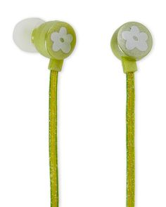 Limited Too Green Glitterbomb Earbuds with In-Line Mic