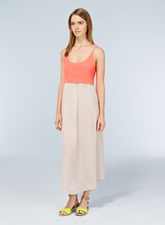 WILFRED BISOUS DRESS - A pretty silk slip dress with delicate embroidery details in the WHITE/TOGA colour