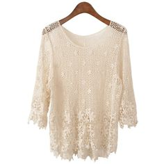 Chicnova Fashion Crochet and Lace Detailed Shirt ($22) ❤ liked on Polyvore featuring tops, chicnova, shirts, blusas, pink top, crochet shirt, flower shirt, scoop neck crop top and crop shirts