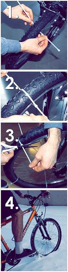 DIY Studded Snow Tires from Zip Ties | 20 DIY Ways To Pimp Your Bike