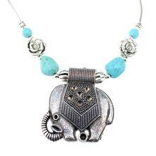 NR139 Чешские Цыганский Тибетский Серебряный Цвет Слон Бирюзовый Кулон винтаж choker ожерелье цепь подарок ювелирных изделий(China (Mainland))