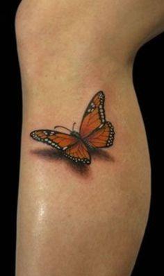 Cute 3D Butterfly Tattoo On Leg