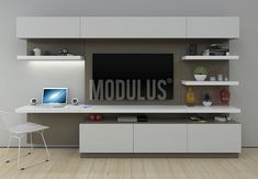 Modulus muebles de diseño contemporaneo, Wall Unit, living – Anime pictures to hairstyles Bedroom Wall Units, Desk Wall Unit, Tv In Bedroom, Tv Cabinet Design, Tv Unit Design, Tv Wall Design, Wall Unit Designs, Desk In Living Room, Home And Living