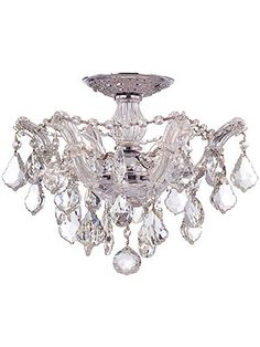 Maria Theresa Small Semi Flush Mount With Clear Crystals In Gold or Chrome Finishes $450.90