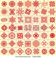 Ethnic geometric signs set. Set of icons with Slavic pagan symbols for your design. Vector illustration