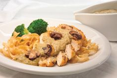 Chicken with mushroom sauce over noodles. Yum yum!