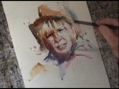 WATERCOLOR: Another Roger Simpson portrait painted in a very expressive spontaneous style. (Watercolour Artist - YouTube)