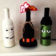 Festive Halloween upcycled yarn wrapped wine bottles on Etsy, $12.00