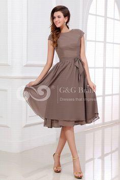 Silver A-line Zipper Short Sleeve Natural Cheap Cocktail Dresses - (GGENPR0156) $99.00 | GrandGown.com