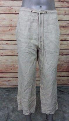 Liz Claiborne Lizwear linen casual cropped pants womens size 10 beige #Lizwear #CaprisCropped