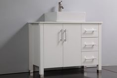Product Description: ARUBA COLLECTION This Single Sink Modern Bathroom Vanity is made out of Solid Oak Wood Cabinetry, Ceramic Sink, soft closing full extension drawers, soft closing doors, stainless steel handles, solid oak wood framed mirror, Polished Chrome or Brushed Nickel faucet, pop-up drains, and flexible hoses.
