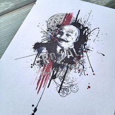 Abstract trash polka Charles Bronson geometric tattoo design