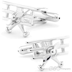 Cufflinksman - Fine Men's Jewelry / Tri-Winged Airplane Cufflinks #cufflinks #fashion