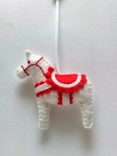 felt horse ornament horse christmas ornament red white christmas decoration horse gifts horse lover christmas gift felt ornament