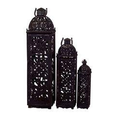 3 Piece Morocco Lantern Set in Black