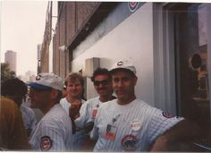 Vendors Marv Mitofsky, Bob Kraupner, the late Ken Sherwin and Glenn wait outside the steward window on Waveland Ave.....Sept. 30, 1995  Rosalind Mitofsky will want to see this one..