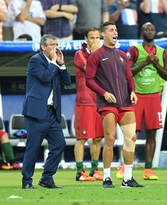 Portugal's Cristiano Ronaldo and head coach of Portugal Fernando Santos are seen during the Euro 2016 final football match between Portugal and. Football Love, World Football, Football Match, Portugal Team, Portugal Soccer, Ronaldo Soccer Player, Soccer Players, Portugal Football Team, Ronaldo Junior
