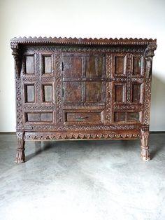 Gujarati Kitchen Cabinet // India // Teak by gardenofsimples Indian Furniture, Luxury Furniture, Antique Furniture, Wooden Furniture, Ethnic Decor, Asian Decor, Kitchen Cabinets India, British Colonial Decor, Vintage India