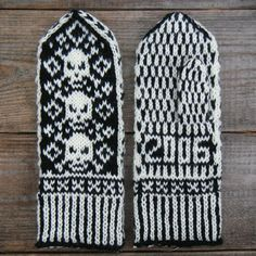 Jolly Roger Pirate Mittens Free Pattern  http://www.helloyarn.com/piratemittens.htm