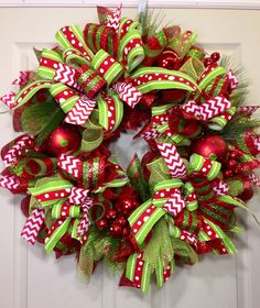 Christmas Mesh Wreath by WilliamsFloral on Etsy Christmas Projects, Holiday Crafts, Christmas Crafts, Christmas Ornaments, Holiday Decor, Etsy Christmas, Handmade Christmas, Christmas Candle, Santa Christmas