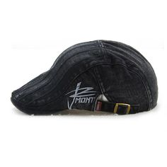 Unisex Cotton Embroidery Stripe Beret Hat Duckbill Golf Flat Buckle Visor Cabbie  Cap For Men Women 50d12d8bc16c