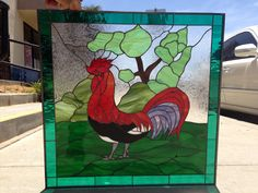 Colorful Rooster Stained GLass Window (We do custom work, enmail for a quick quote) Custom Stained Glass, Stained Glass Panels, Leaded Glass, Custom Design, Logo Design, New Construction, Glass Art, Victorian, Custom Windows