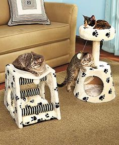"""Keep your beloved kitty entertained for hours with the Paw Print Cat Loft or Play Center. Give them their own space to play, nap and scratch. The Loft (13-1/2"""""""