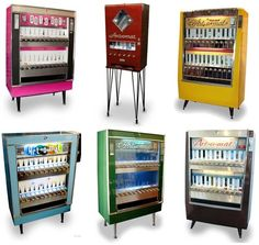 Vintage cigarette machines re-purposed to dispense art (Messy Nessy Chic)