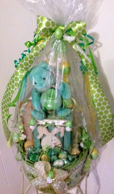 Handmade Green & Yellow EASTER BUNNY TREE Gift Basket by cappelloscreations, $30.00@Etsy